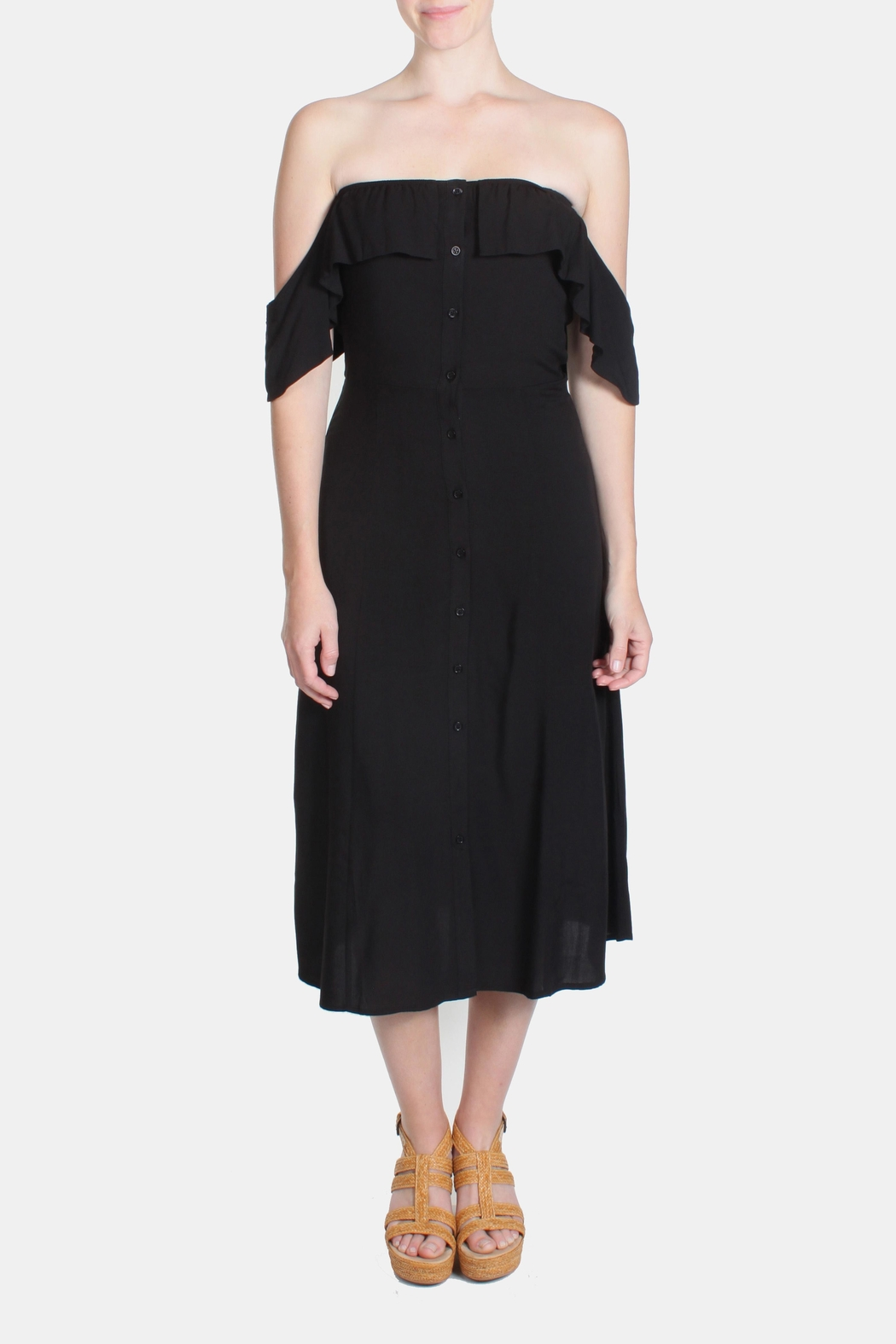 rokoko Black Off-Shoulder Dress - Side Cropped Image
