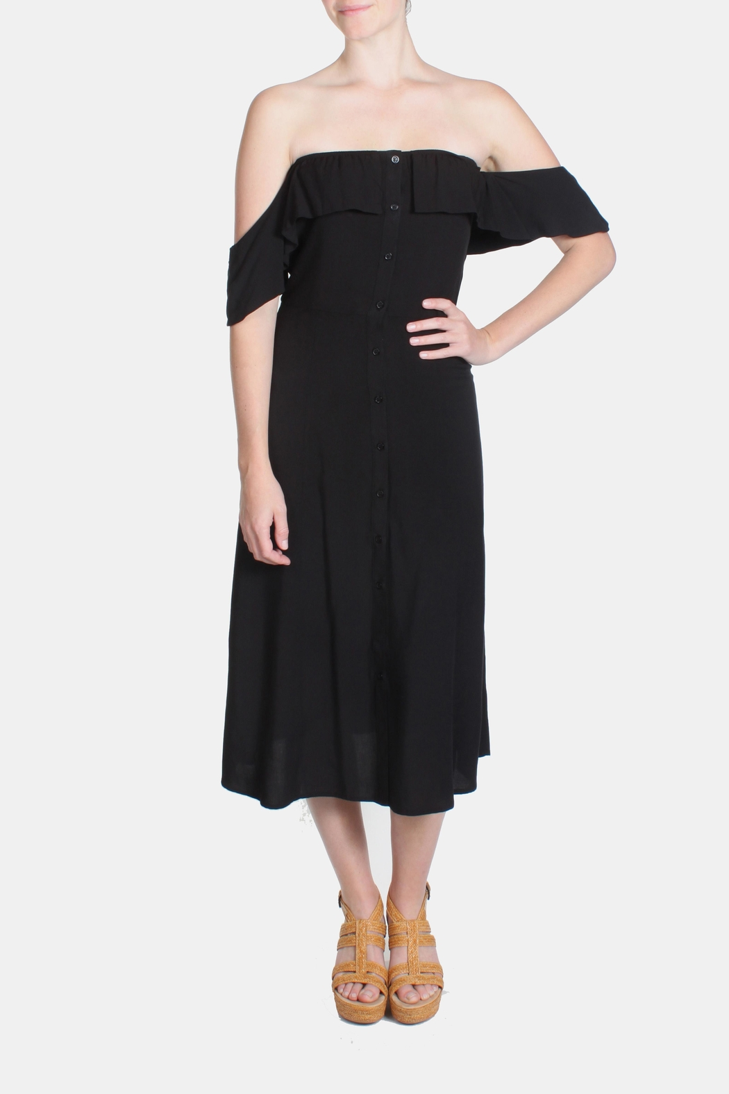 rokoko Black Off-Shoulder Dress - Front Full Image