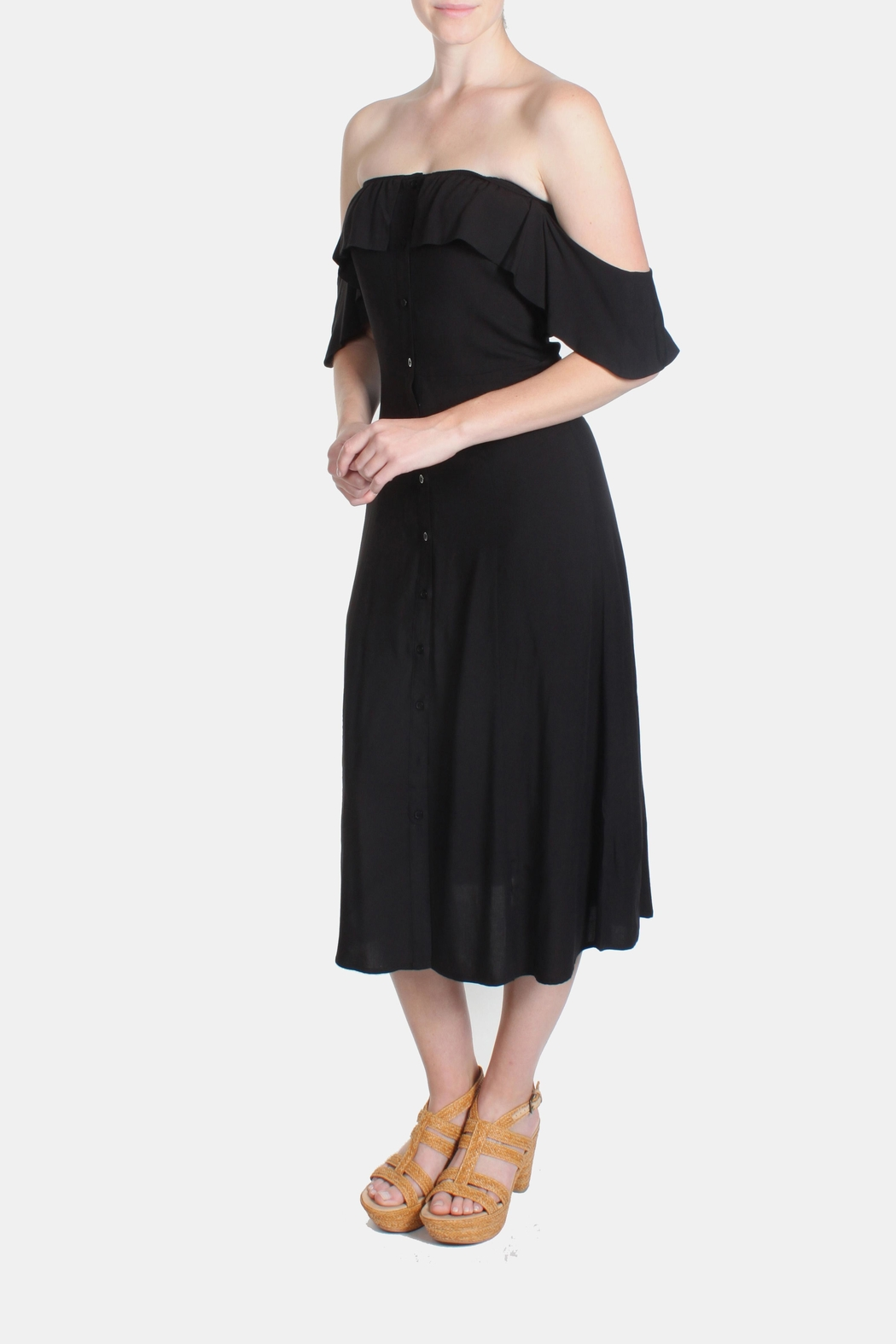 rokoko Black Off-Shoulder Dress - Front Cropped Image