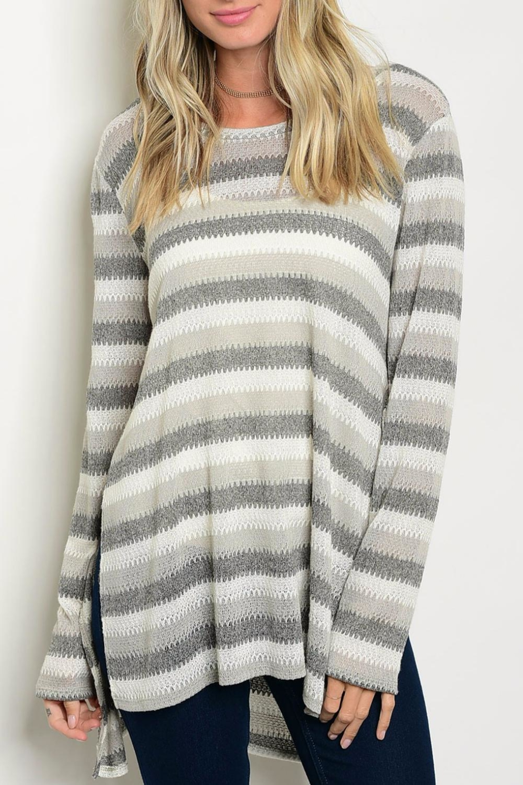 rokoko Charcoal Sweater - Front Cropped Image