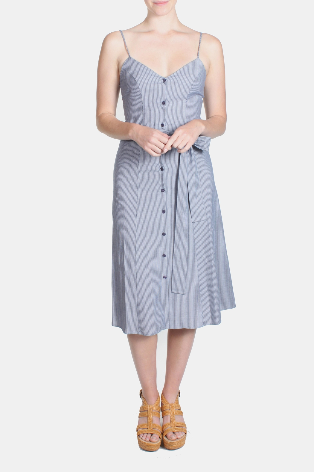 rokoko Denim Stripe Dress - Front Full Image