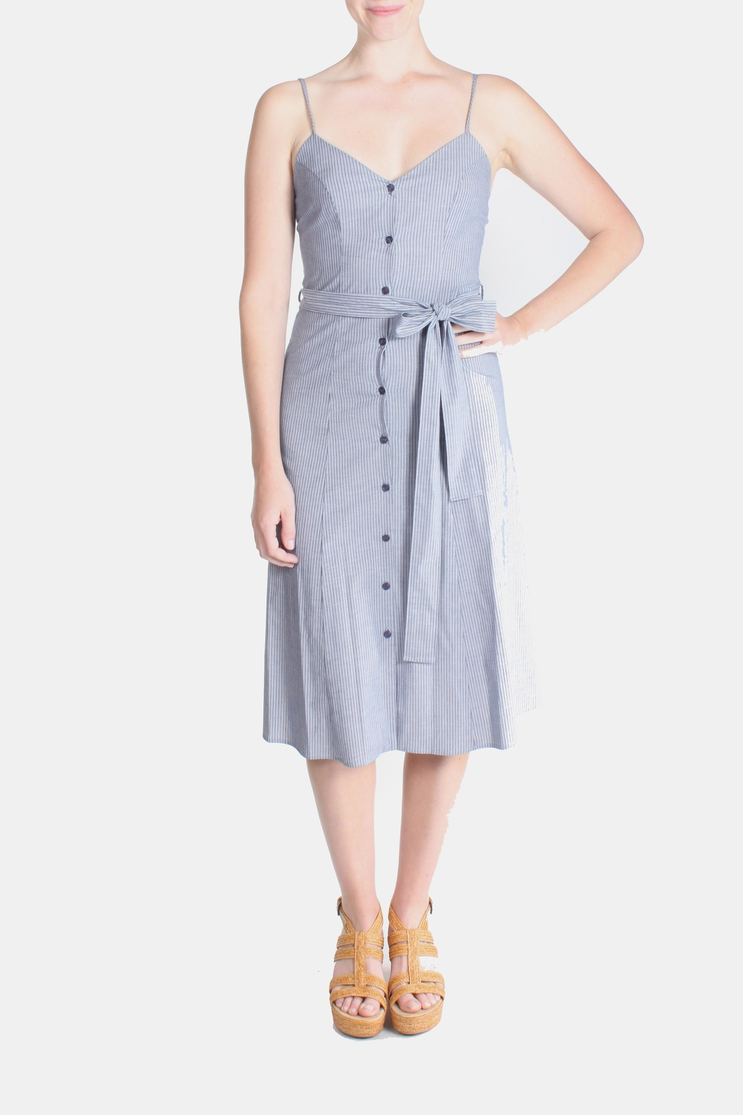 rokoko Denim Stripe Dress - Front Cropped Image