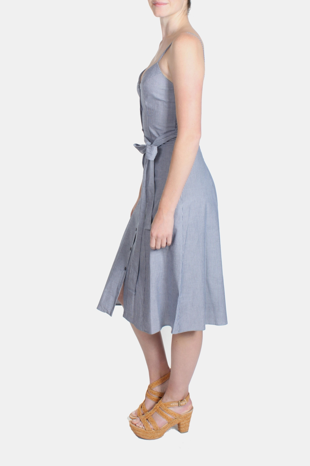 rokoko Denim Stripe Dress - Side Cropped Image