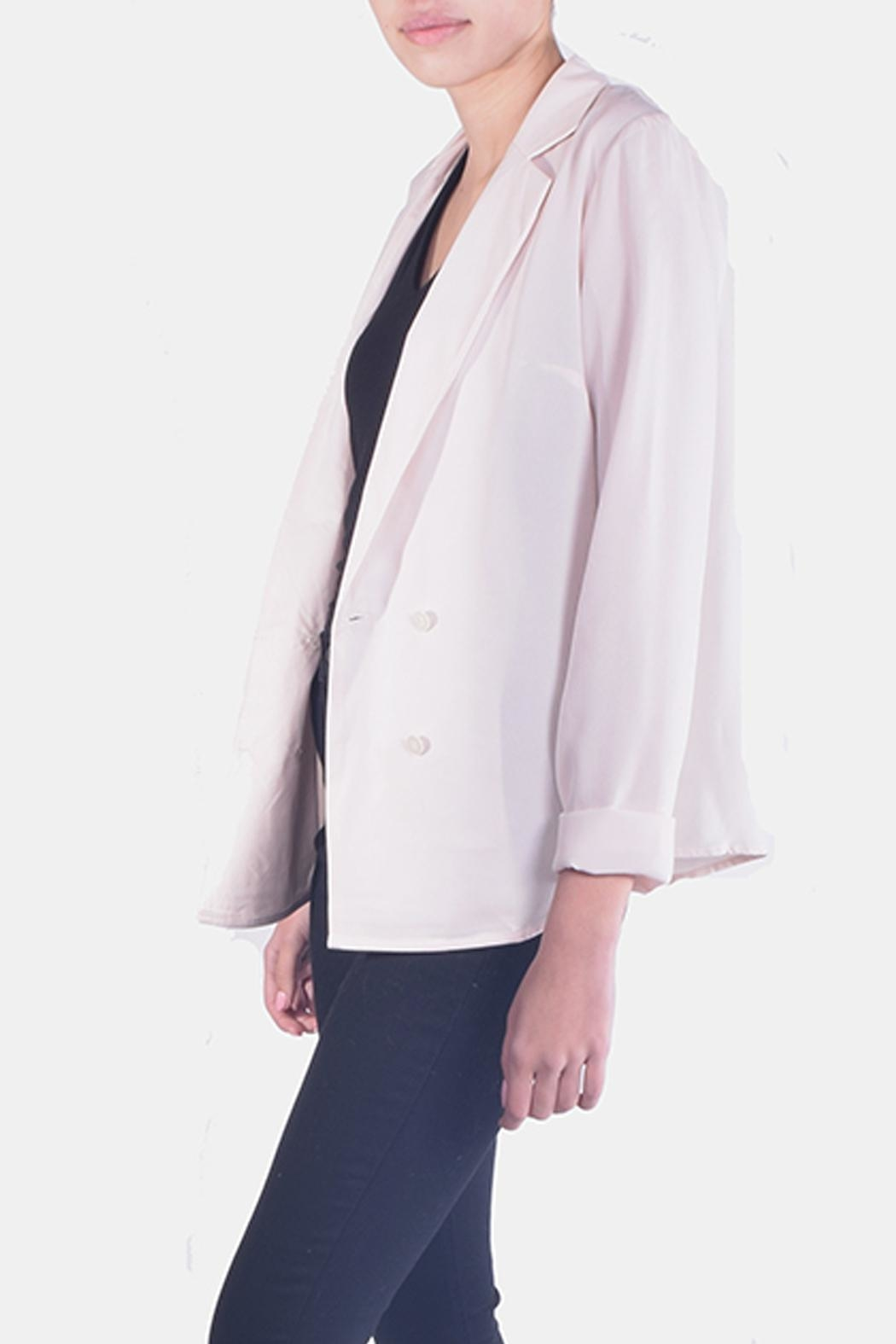 rokoko Fitted Satin Blazer - Side Cropped Image