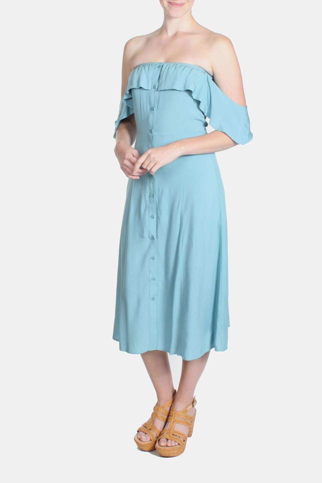 rokoko Mint Off Shoulder Dress - Main Image