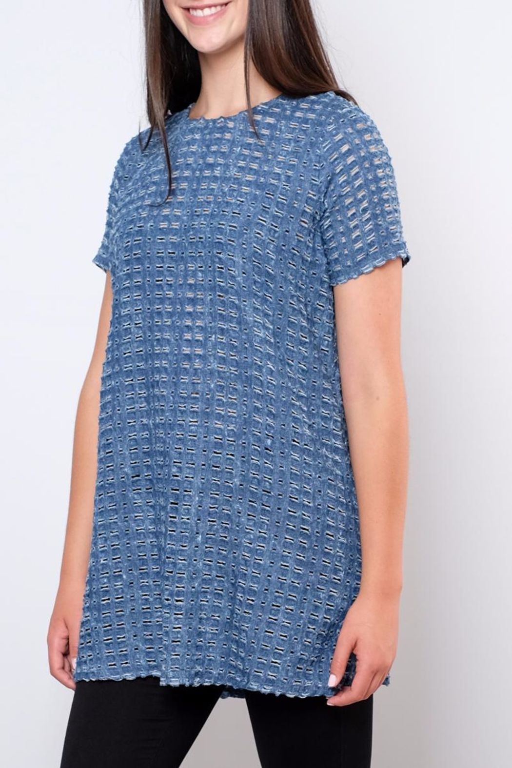 rokoko Perforated Denim Tunic Top - Side Cropped Image