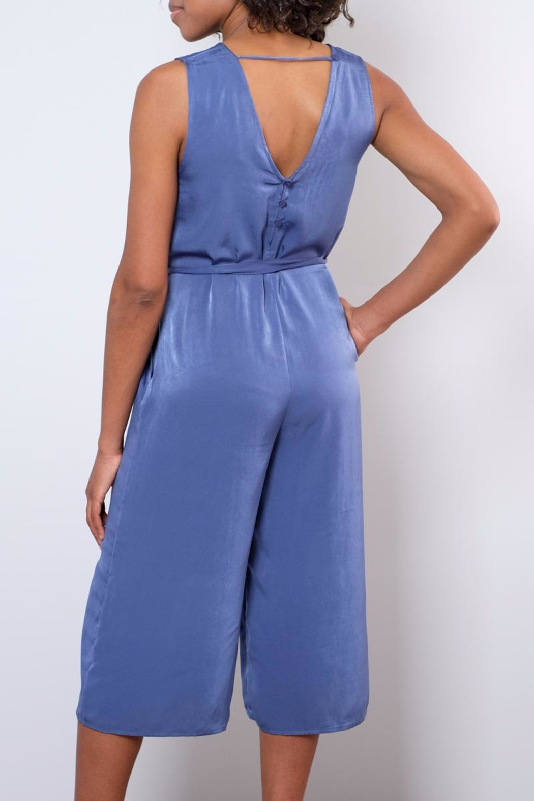 rokoko Satin Culotte Jumpsuit - Side Cropped Image