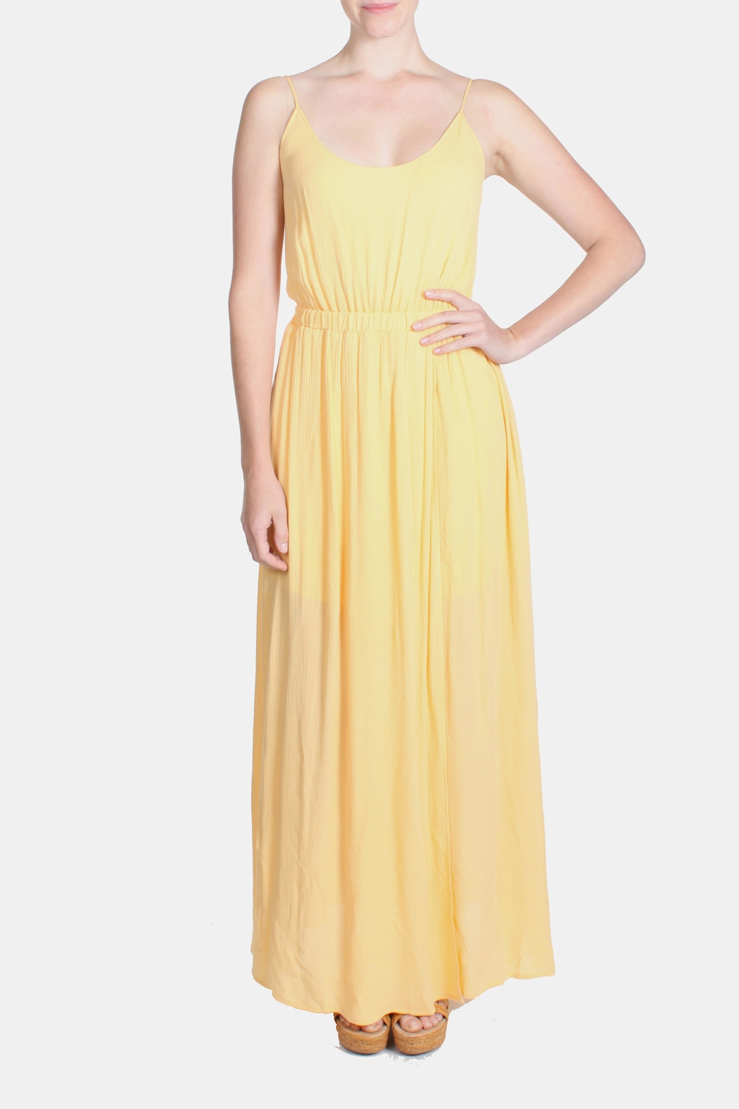 rokoko Yellow Corset Dress - Front Cropped Image