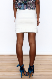 Rolando Santana White Fitted Skirt - Back cropped