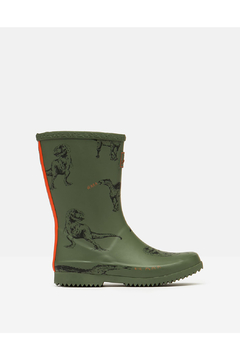 Joules Roll Up Rain Boots - Green Dinosaur - Product List Image