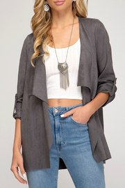 she+sky Roll up sleeve faux suede jacket - Product Mini Image