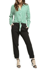Black Tape/Dex Roll Up Slv Stripe Blouse - Front cropped