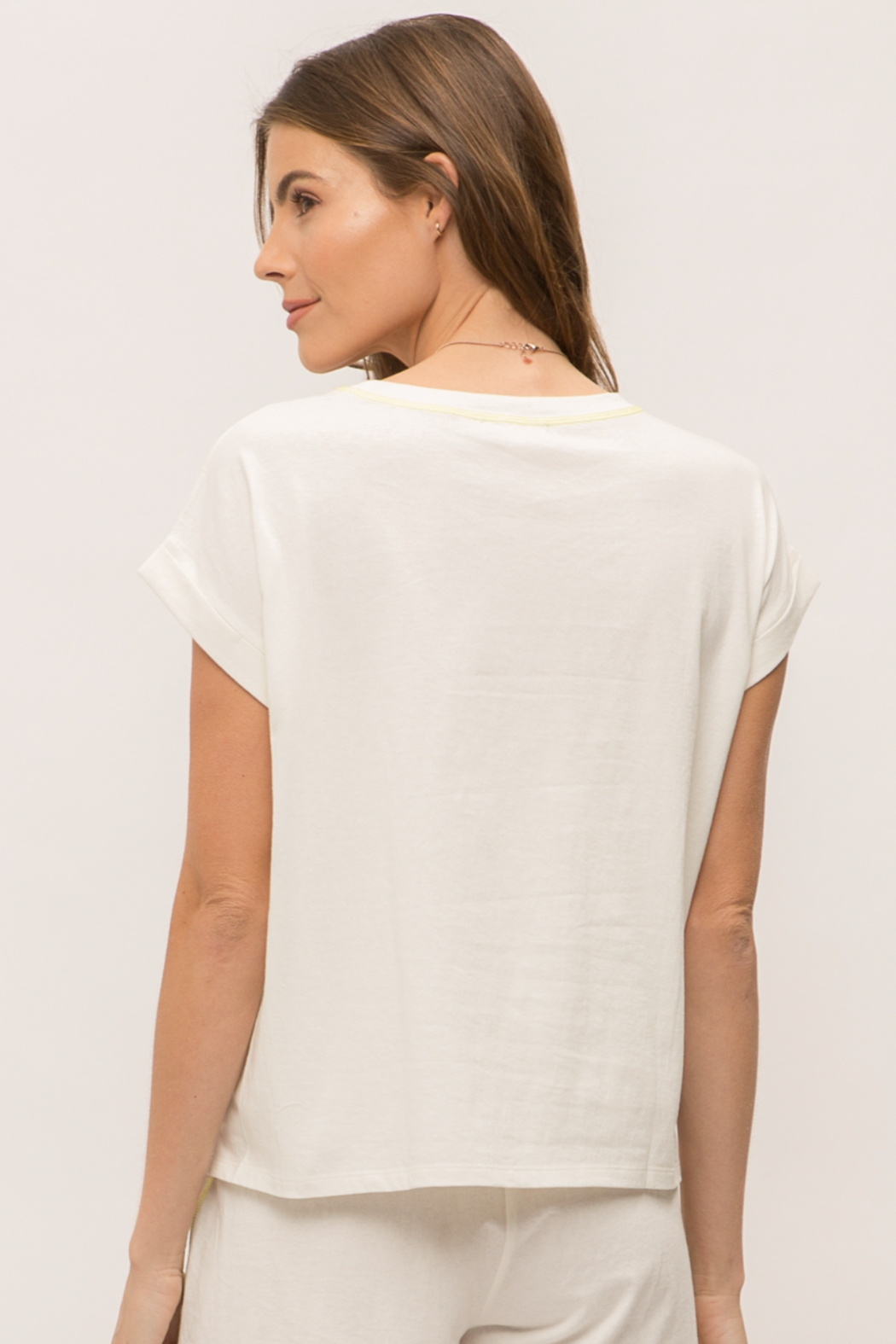 Mystree Rolled Short Sleeve Crop Top - Front Full Image