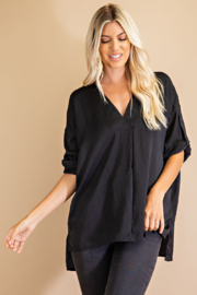 Glam Rolled Sleeve Blouse - Front cropped