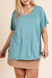 Umgee  Rolled Sleeve Top Curvy - Product Mini Image