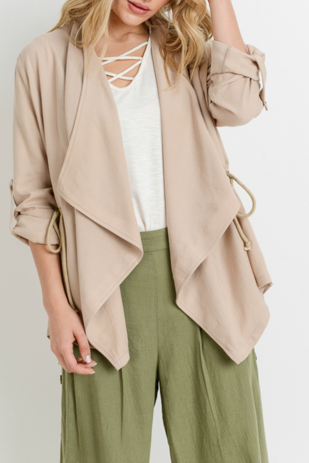 Sinuous Rolled up sleeve cardigan w/ adjustable sides - Main Image