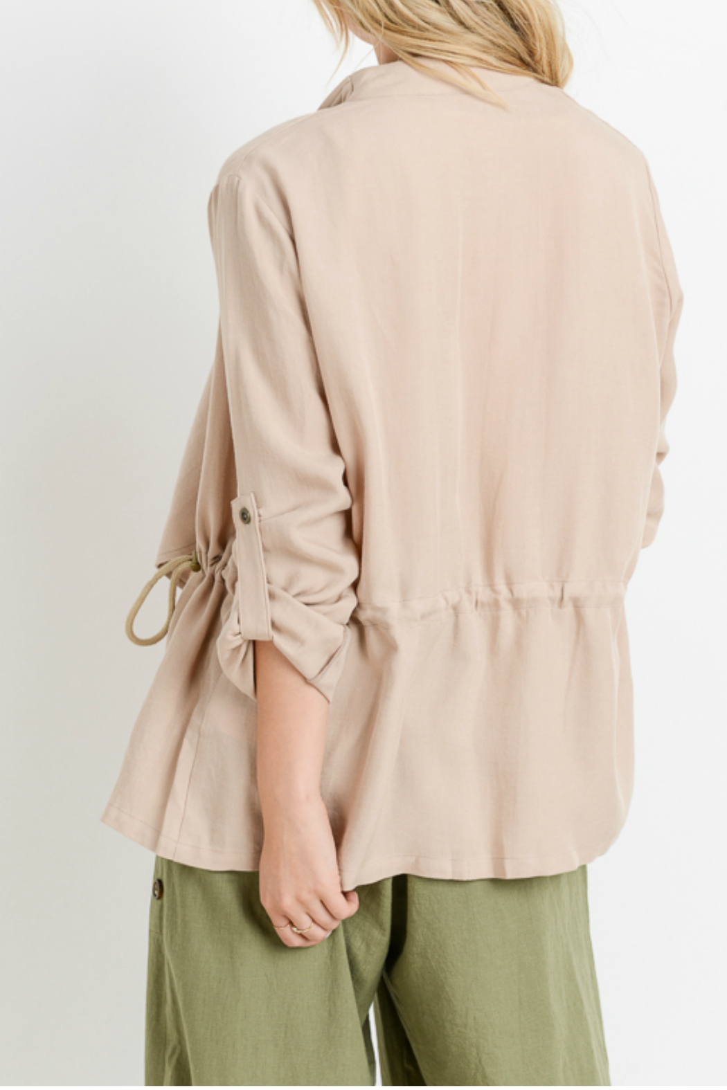 Sinuous Rolled up sleeve cardigan w/ adjustable sides - Side Cropped Image