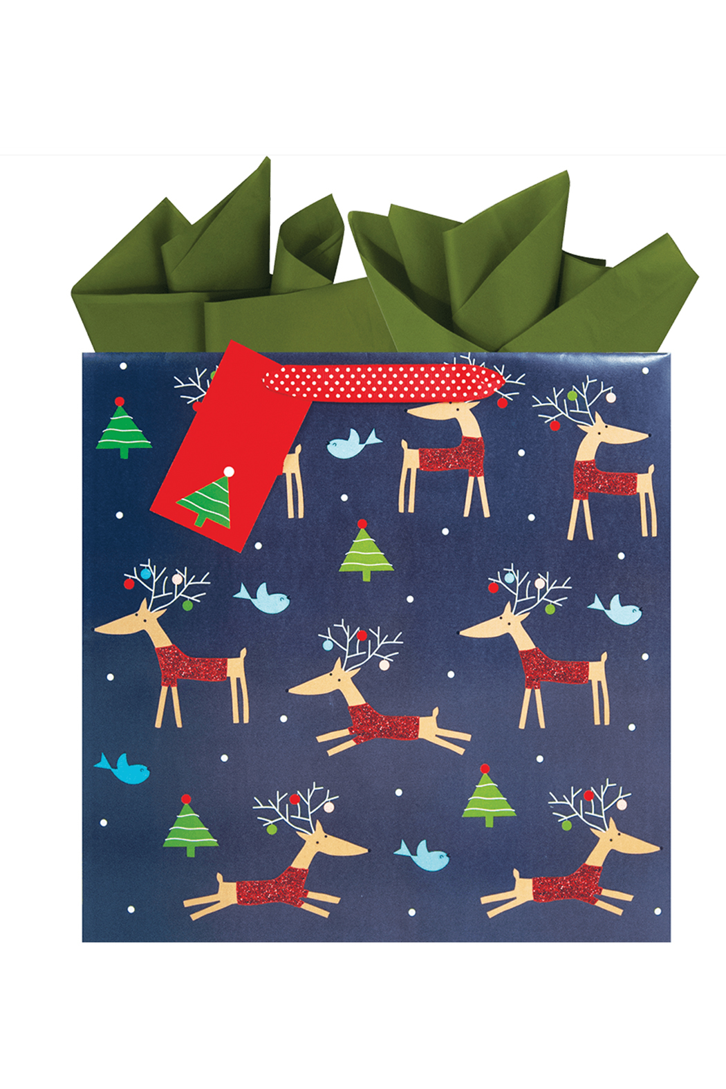The Gift Wrap Company Rollicking Reindeer Large Square Gift Bag - Main Image