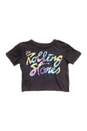 Rowdy Sprout Rolling Stones Crop Tee - Front cropped