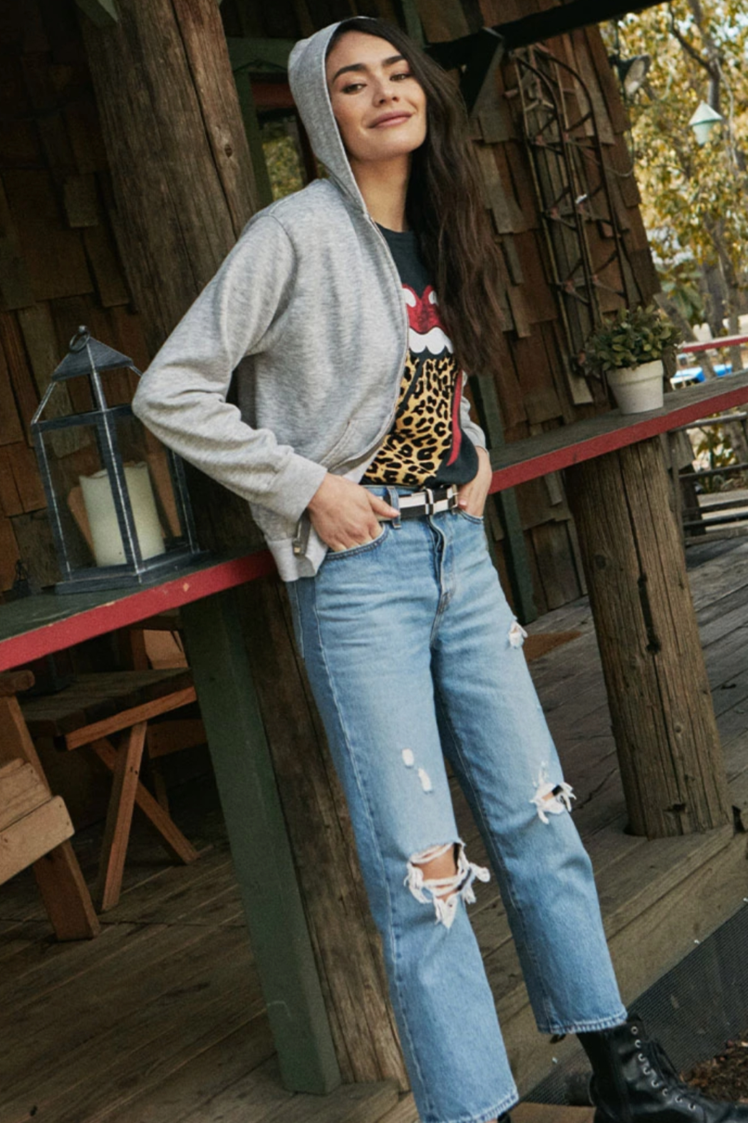 Daydreamer Rolling Stones Leopard Tongue Tee - Main Image