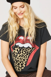 Daydreamer Rolling Stones Leopard Tongue Tee - Side cropped