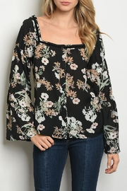 Roly Poly Black Floral Top - Product Mini Image