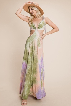 Roly Poly Cut Out Tie Dye Maxi Dress - Alternate List Image