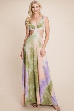 Roly Poly Cut Out Tie Dye Maxi Dress - Product List Image