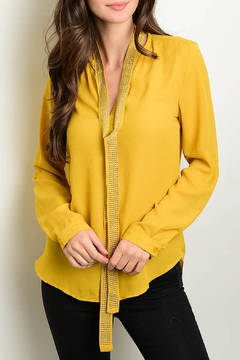 Roly Poly Mustard Necktie Blouse - Product List Image