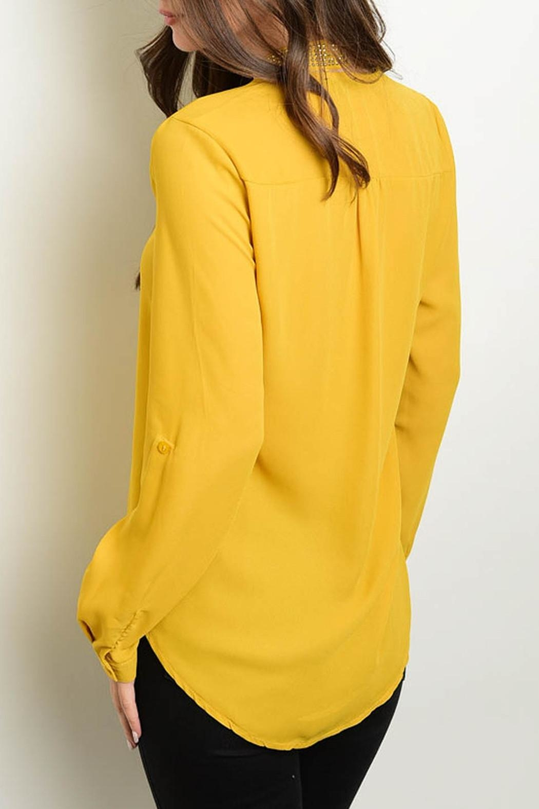 Roly Poly Mustard Necktie Blouse - Front Full Image