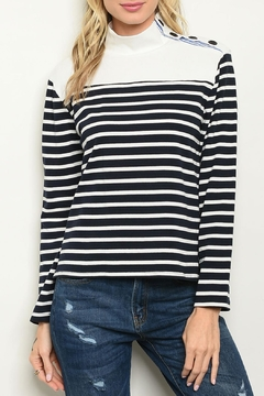 Roly Poly Navy Striped Top - Product List Image