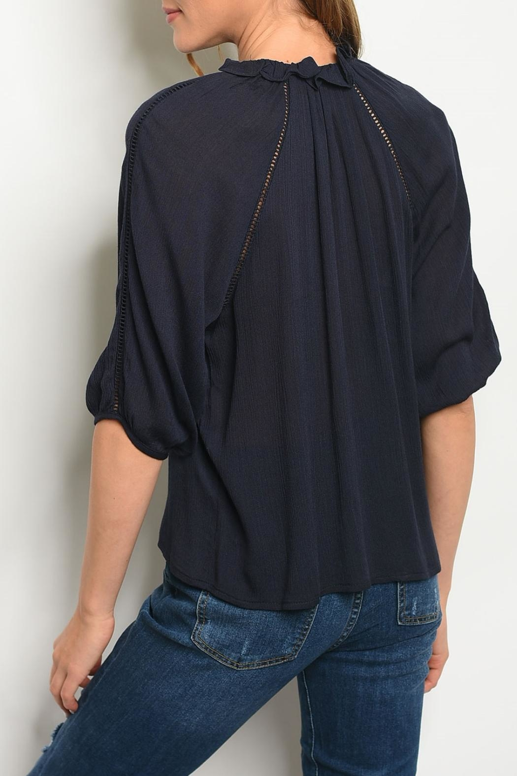 Roly Poly Navy Tie Blouse - Front Full Image