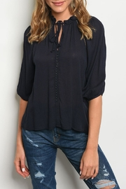 Roly Poly Navy Tie Blouse - Front cropped