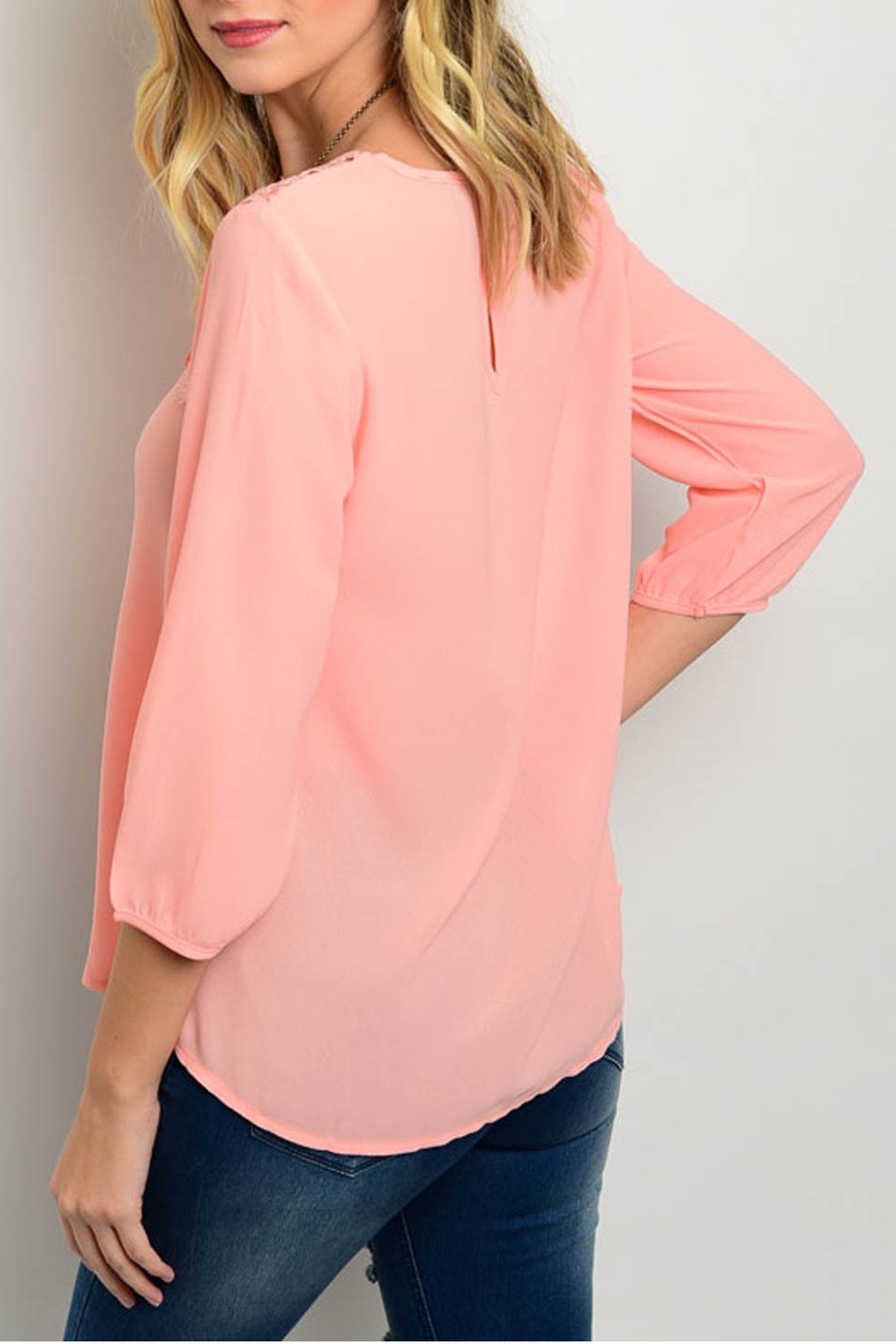Roly Poly Salmon Crochet Blouse - Front Full Image