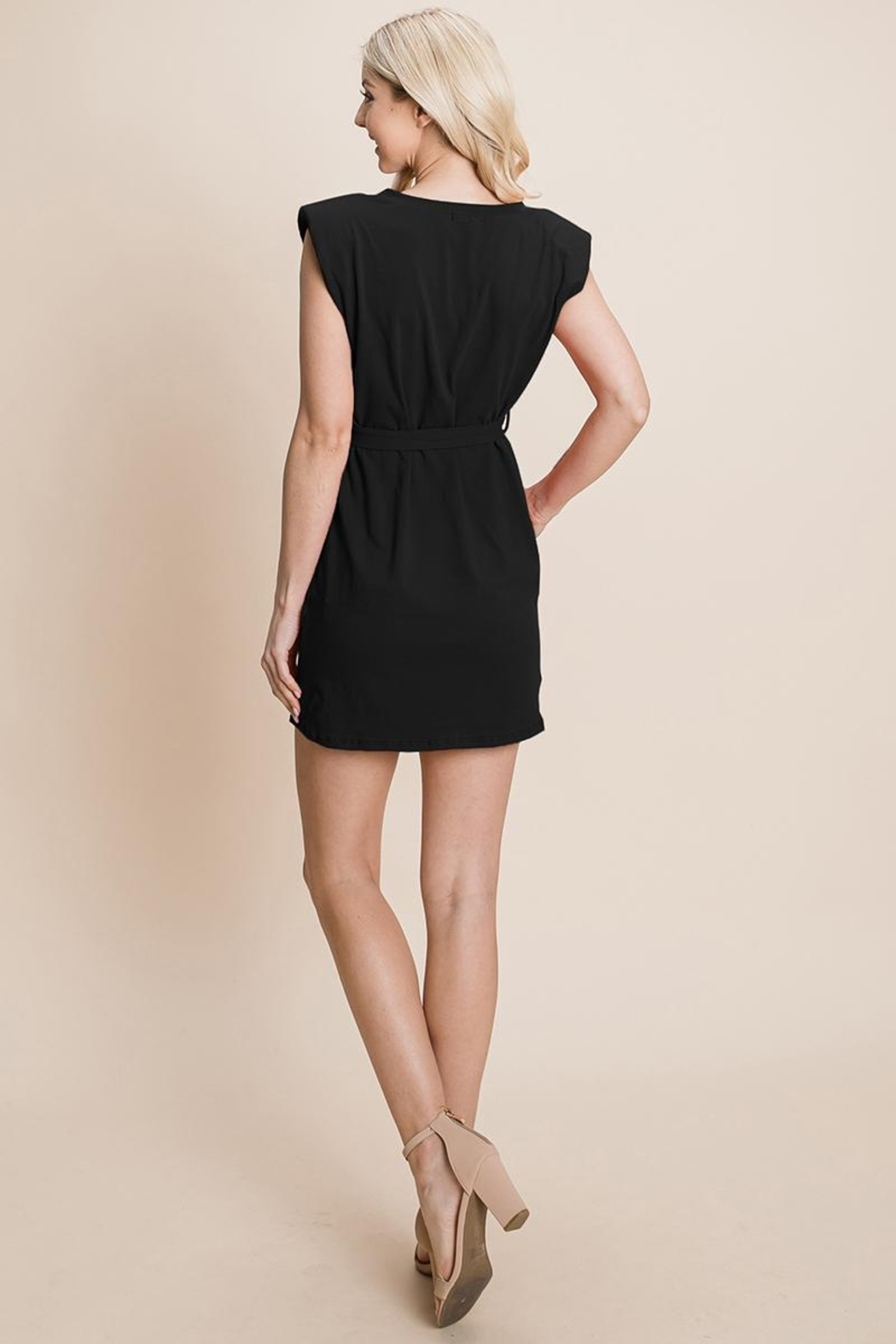 RolyPoly Casual Shoulder Pad Sleeveless Mini Belted Dress - Side Cropped Image