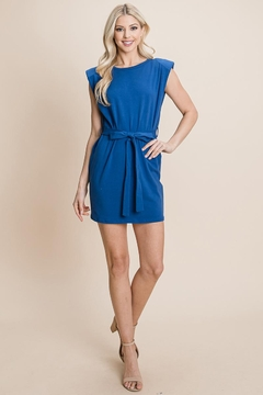 RolyPoly Casual Shoulder Pad Sleeveless Mini Belted Dress - Alternate List Image