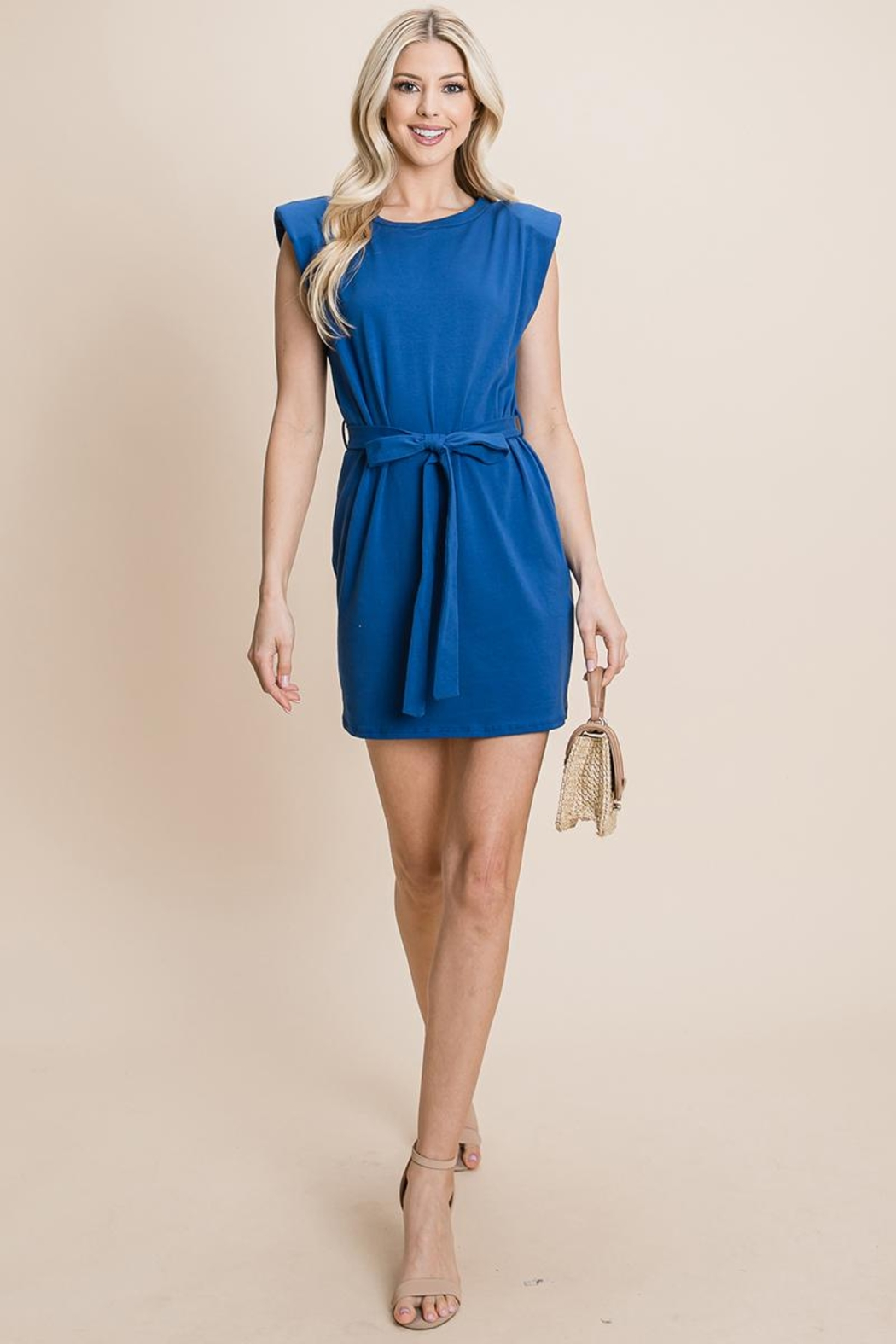 RolyPoly Casual Shoulder Pad Sleeveless Mini Belted Dress - Main Image