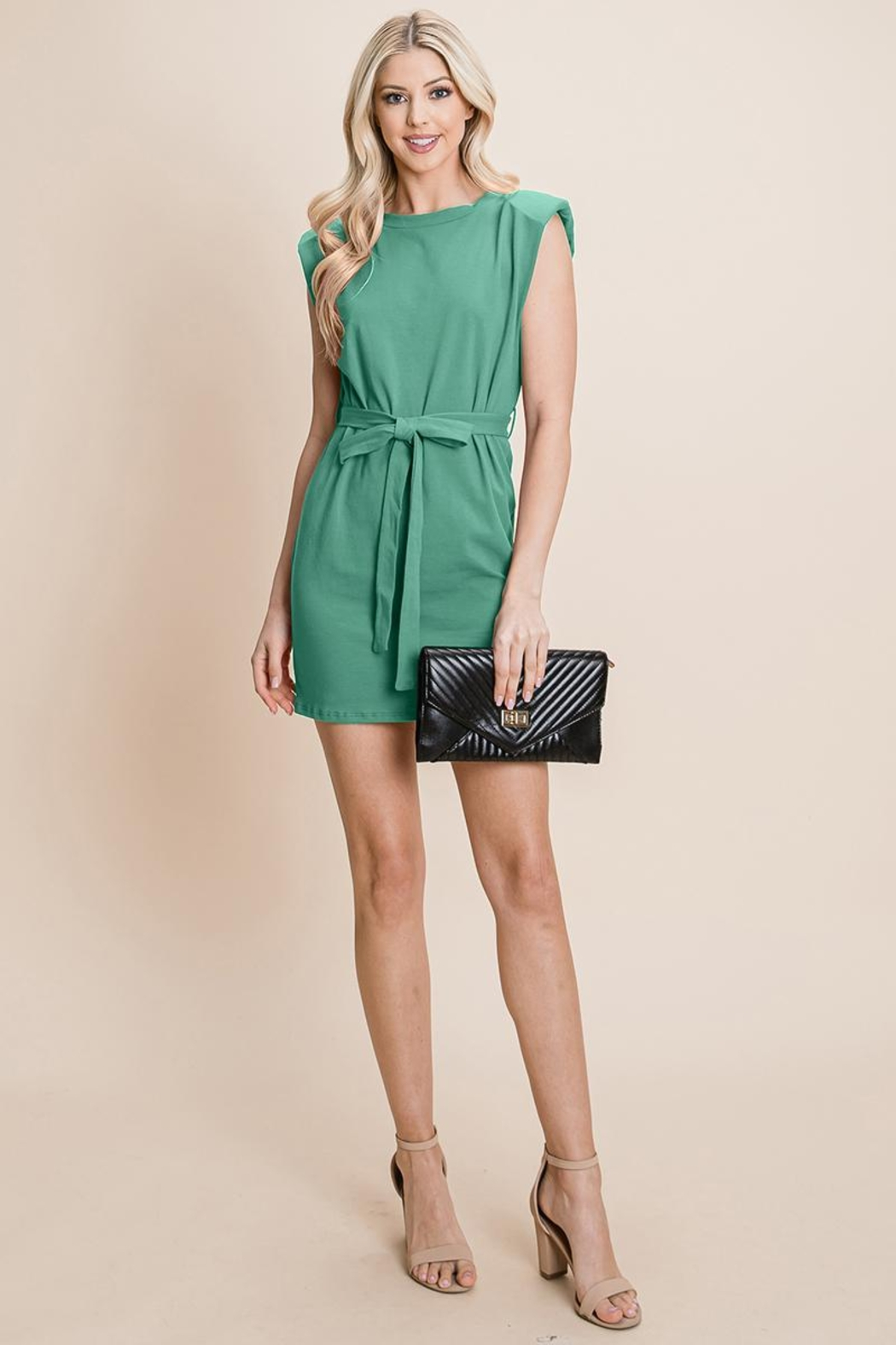 RolyPoly Casual Shoulder Pad Sleeveless Mini Belted Dress - Back Cropped Image
