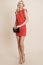 RolyPoly Casual Shoulder Pad Sleeveless Mini Belted Dress - Front cropped