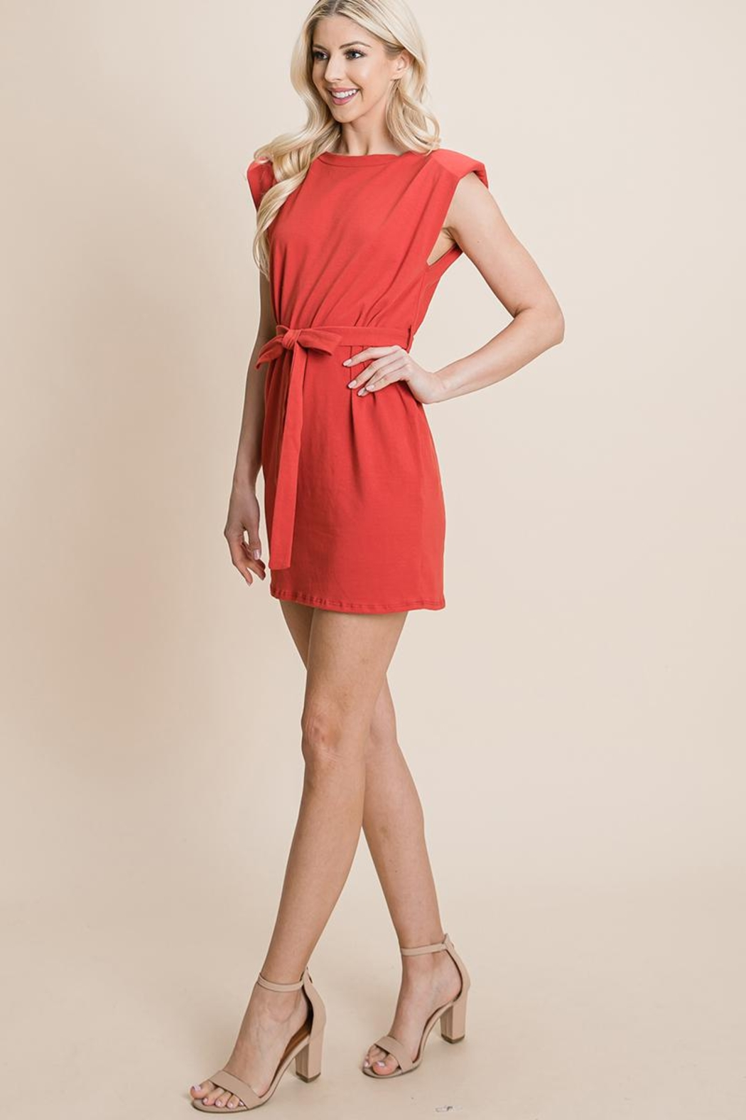 RolyPoly Casual Shoulder Pad Sleeveless Mini Belted Dress - Front Full Image