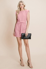 RolyPoly Casual Shoulder Pad Sleeveless Mini Belted Dress - Back cropped