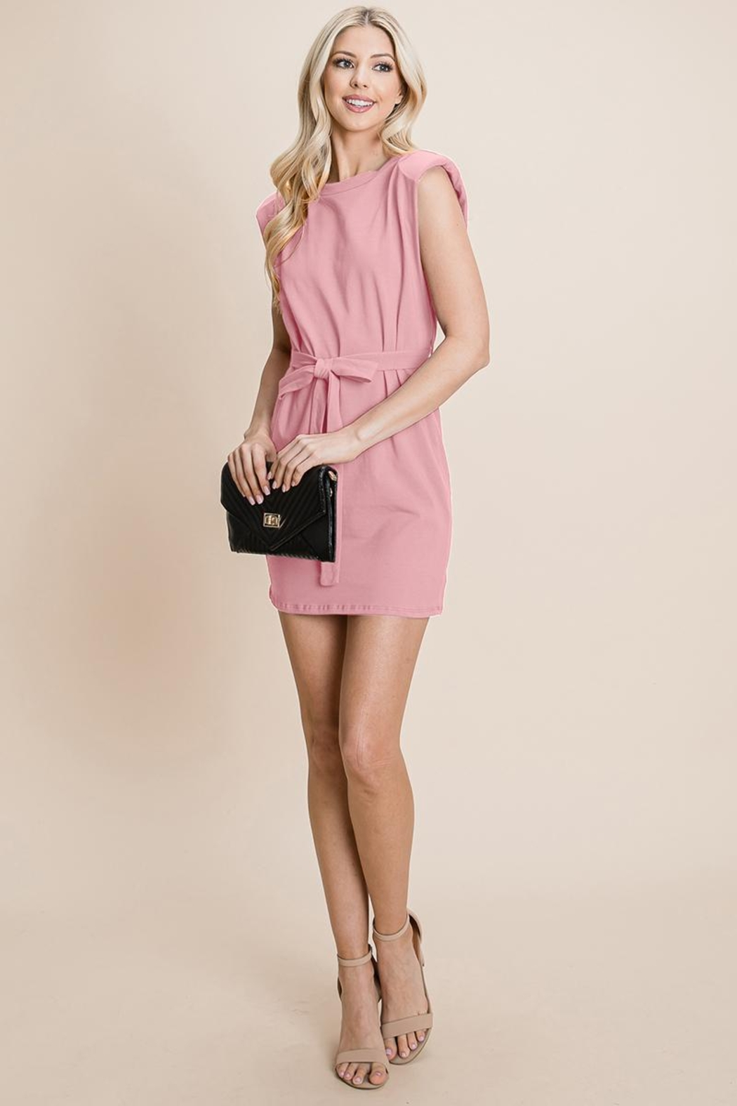 RolyPoly Casual Shoulder Pad Sleeveless Mini Belted Dress - Front Cropped Image