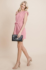 RolyPoly Casual Shoulder Pad Sleeveless Mini Belted Dress - Front full body
