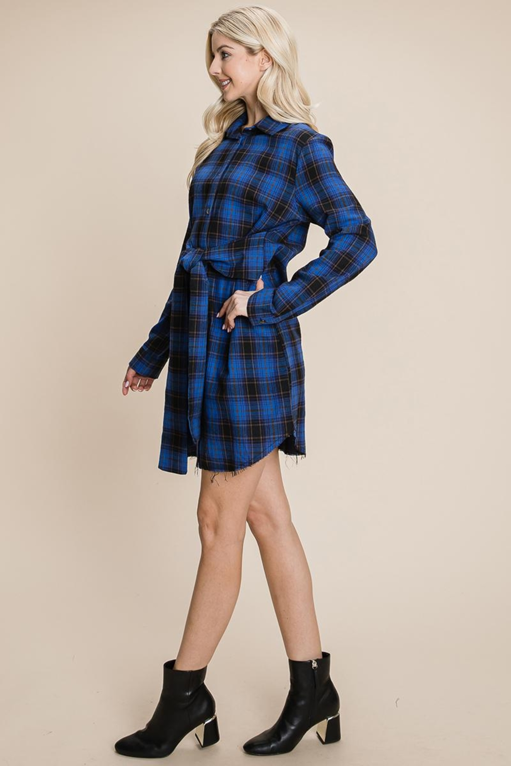 ROLYPOLY Apparel Belted Casual Tunic Cotton Plaid T Shirt Dresses - Front Full Image