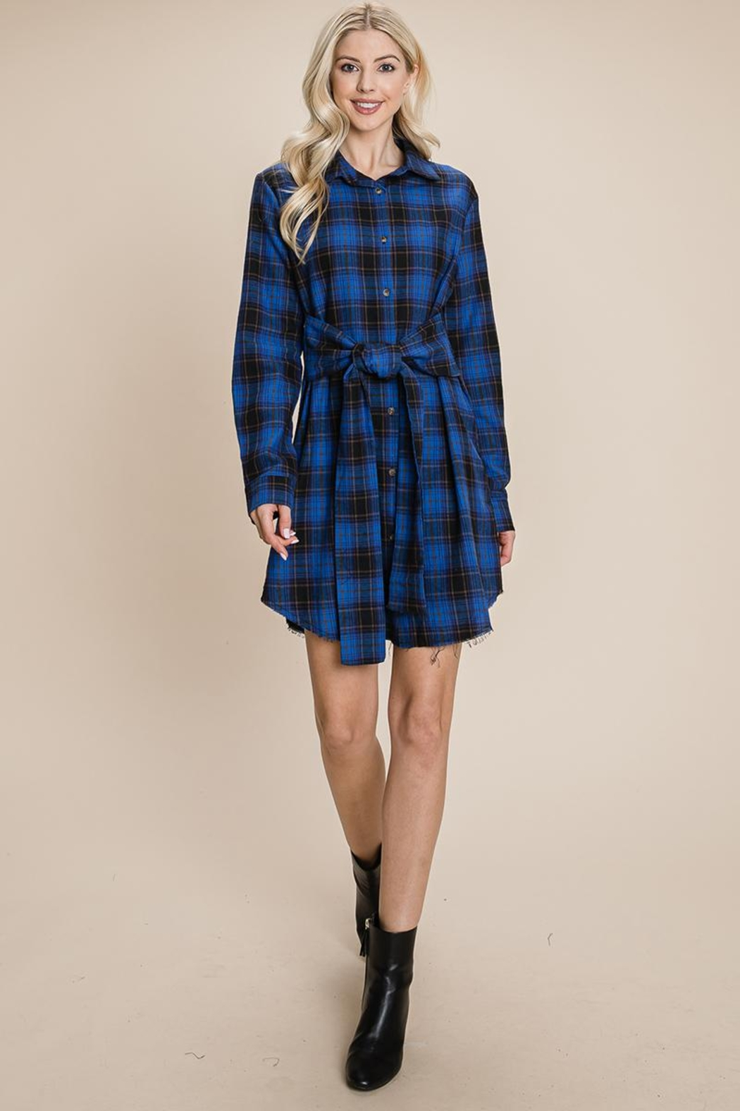 ROLYPOLY Apparel Belted Casual Tunic Cotton Plaid T Shirt Dresses - Front Cropped Image