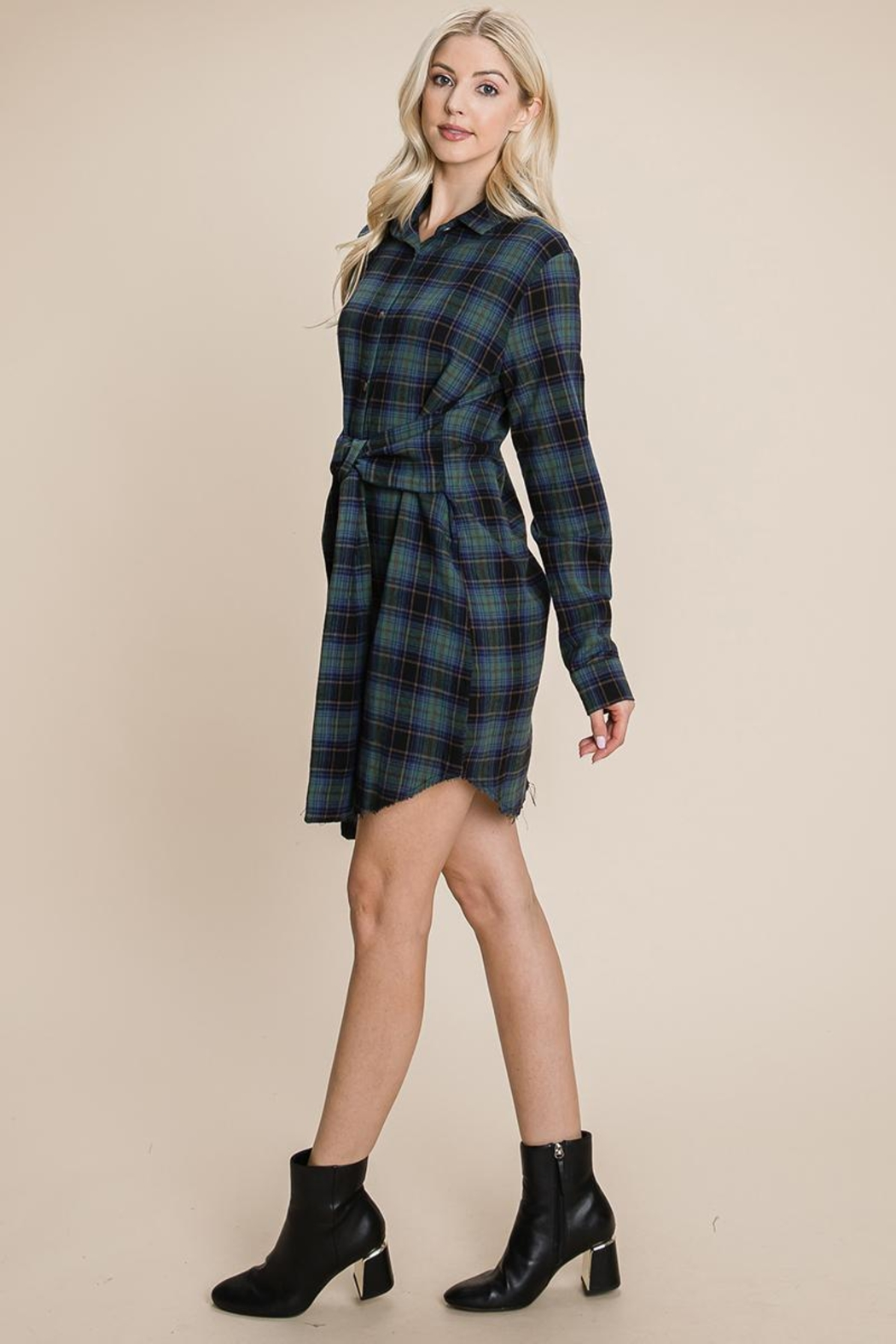 ROLYPOLY Apparel Belted Casual Tunic Cotton Plaid T Shirt Dresses - Side Cropped Image