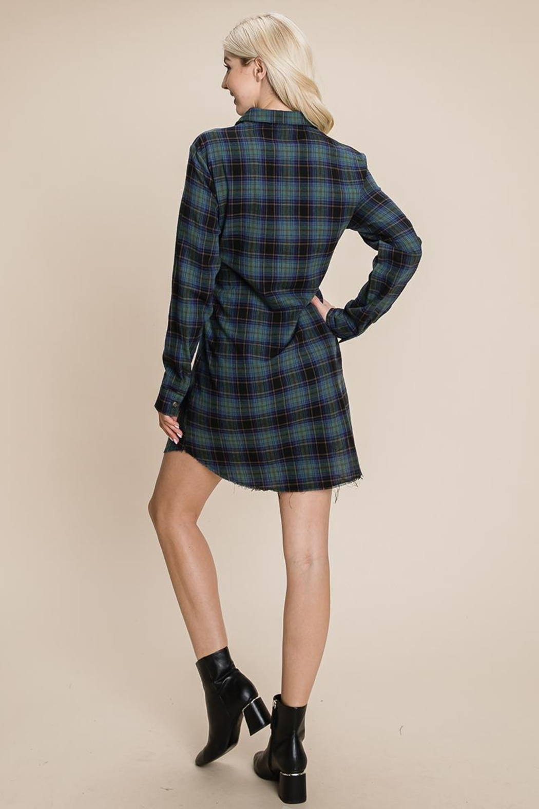 ROLYPOLY Apparel Belted Casual Tunic Cotton Plaid T Shirt Dresses - Back Cropped Image