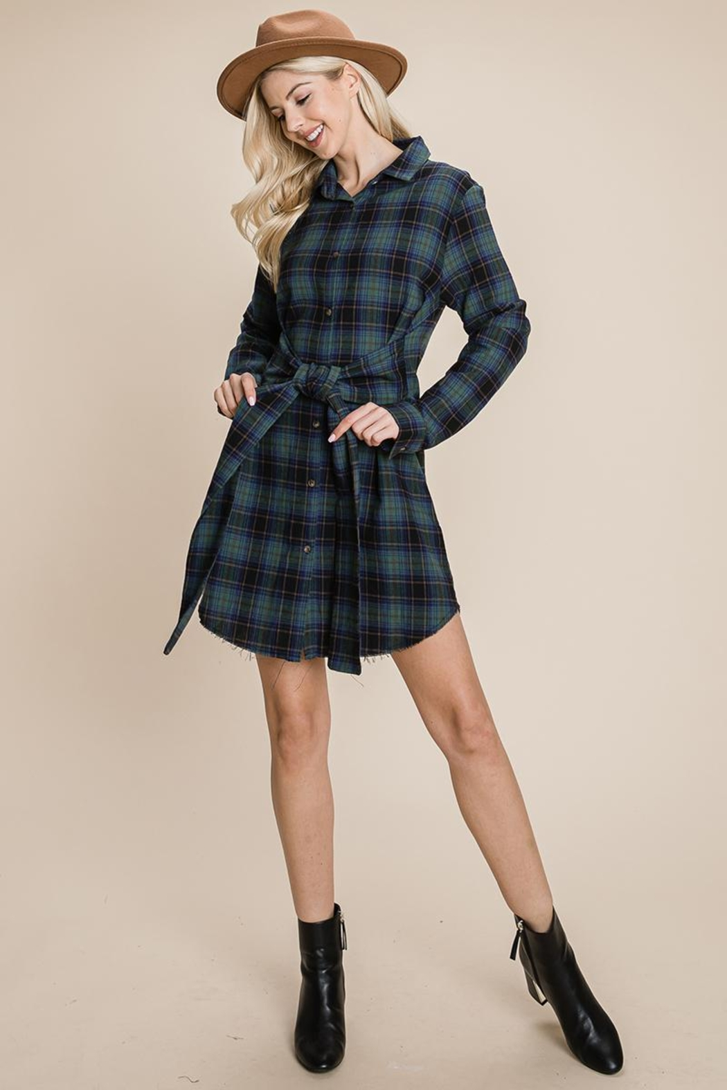 ROLYPOLY Apparel Belted Casual Tunic Cotton Plaid T Shirt Dresses - Main Image