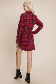 ROLYPOLY Apparel Belted Casual Tunic Cotton Plaid T Shirt Dresses - Side cropped