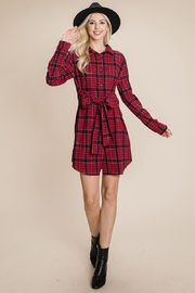 ROLYPOLY Apparel Belted Casual Tunic Cotton Plaid T Shirt Dresses - Front cropped